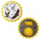 Flesopener-magneet-geel-met-afbeeldingen-van-vogels