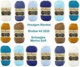 Hexagon Blanket Scheepjes Breibar kit 2020 Merino Soft. inclusief patroon en label en een canvastas  met print_13