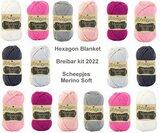 Hexagon Blanket Scheepjes Breibar kit 2022 Merino Soft inclusief patroon en label en een canvastas  met print_13
