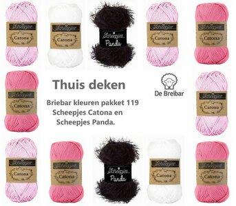 Thuis deken Breibar kleuren pakket 119 Scheepjes Catona en Panda (totaal 56 bollen) - Uit het boek Dekens enzo - Joke ter Veldhuis