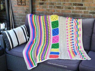 Kaleidoscope Blanket TLC deken haakpakket Scheepjes Chunky Monkey compleet met handige wolnaald en 2 stekenmarkeerders