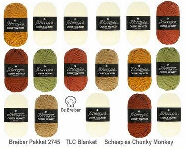 Breibar 2745 TLC Blanket  haakpakket Scheepjes Chunky Monkey compleet met handige wolnaald en 2 stekenmarkeerders