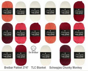 Breibar 2747 TLC Blanket  haakpakket Scheepjes Chunky Monkey compleet met handige wolnaald en 2 stekenmarkeerders