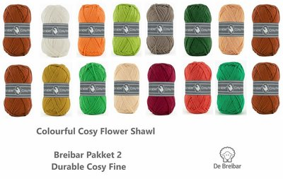 Durable Colourful Cosy Flower Shawl Breibar kleuren garen pakket 2 + Gratis download patroon