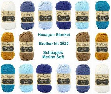 Hexagon Blanket Scheepjes Breibar kit 2020 Merino Soft. inclusief patroon en label en een canvastas  met print