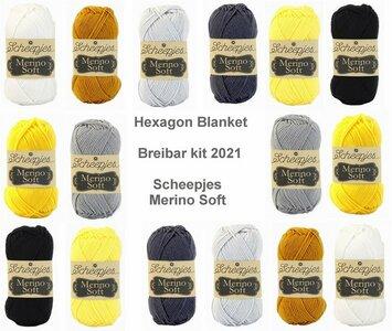 Hexagon Blanket Scheepjes Breibar kit 2021 Merino Soft inclusief patroon en label en een canvastas  met print