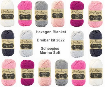 Hexagon Blanket Scheepjes Breibar kit 2022 Merino Soft inclusief patroon en label en een canvastas  met print