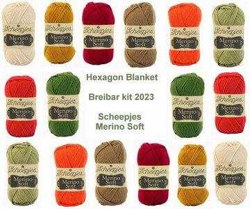 Hexagon Blanket Scheepjes Breibar kit 2023 Merino Soft inclusief patroon en label en een canvastas  met print