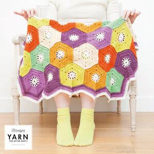 Hexagon Blanket Scheepjes Merino Soft - compleet deken haakpakket inclusief patroon en label en een canvastas  met print