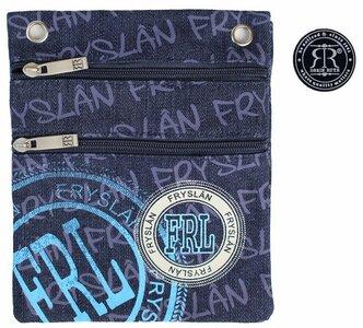 Nektasje met Frylân opschrift in de kleur lichtblauw , beige en donkerblauw jeans