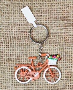 Sleutelhanger fiets Holland met mandje tulpen oranje van metaal