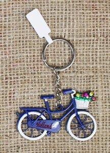 Sleutelhanger fiets Holland met mandje tulpen blauw van metaal