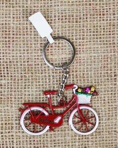 Sleutelhanger fiets Holland met mandje tulpen rood van metaal
