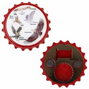 Flesopener magneet rood met afbeeldingen van vogels