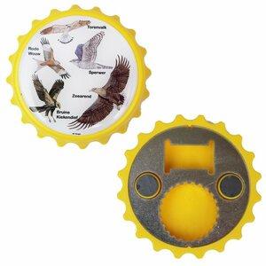 Flesopener magneet geel met afbeeldingen van vogels