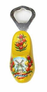 Flesopener klomp met molen en tulpen geel