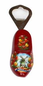 Flesopener klomp met molen en tulpen donker rood