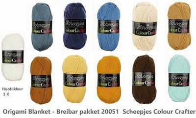 Origami Blanket - Breibar 20051 Scheepjes Colour Crafter compleet garen pakket